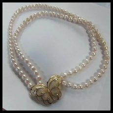 KJL for Avon Papillon Butterfly Double Strand fx Pearl Necklace Book Piece