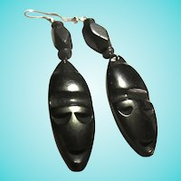 Carved Ebony Mask Earrings