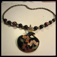 Beautiful Cloisonne Enamel Flower Pendant Bead Necklace