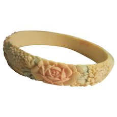 Pastel Tinted Celluloid Floral Bangle Bracelet