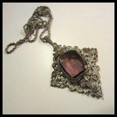 Gorgeous Austrian Amethyst Glass Pendant Necklace