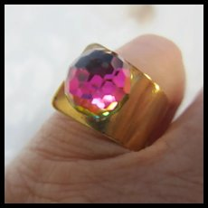 Fabulous Swarovski Faceted Prism Crystal Adjustable Ring