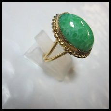 Lovely Peking Glass NOS Adjustable Ring