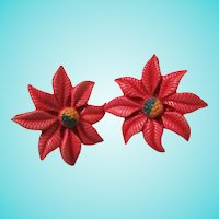 Red Poinsetta Celluloid Screw Back Earrings
