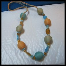 Wonderful Yellow Turquoise Cord Glass Statement Necklace