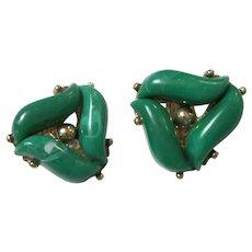 Lovely Green 1950s Clip Earrings