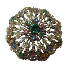 Gorgeous Czech Jeweled Brooch C Clasp