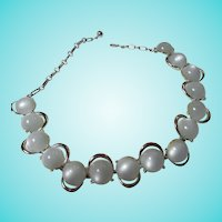 Coro Baby Blue Moonglow Silver tone Necklace 1960s