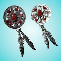Native American Navajo TK Emerson Sterling Silver Dream Maker Style Post Earrings