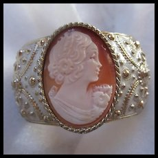 Gorgeous Amedeo Carved Shell Cameo Wide Statement Bracelet