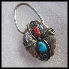 Native American Sterling Silver Turquoise Coral Signed Key Ring