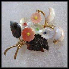 Lovely Organic Carved Shellshells Flower Bouquet Brooch