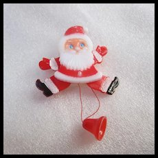 Adorable 1960s Plastic Pull String Santa Claus Pin