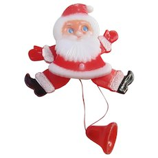 Adorable 1960s Plastic Pull String Santa Claus Pin