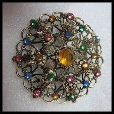 Gorgeous Czech Vintage Jeweled Brooch C Clasp