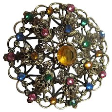 Gorgeous Czech Vintage Jeweled Brooch C Clasp