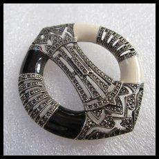 Large Art Deco Style Black White Enamel Marcasite Brooch