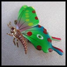 Beautiful Enamel Vintage Butterfly Figural Brooch