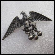 Vintage Pewter Eagle Dangles Brooch Pin