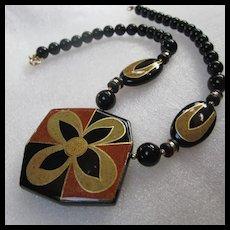 Fabulous Glass Ceramic Art Deco Style Statement Necklace