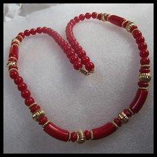 Trifari Red Lucite Mid Century Necklace
