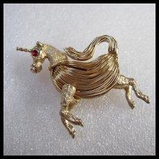 Hand Wired Unicorn Red Ruby Crystal Eye Pin Brooch