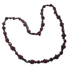 Gorgeous Vintage Rhodolite  Bohemian Garnet 26 Inch Necklace