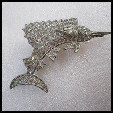 Art Deco Era Sparkling Swordfish Figural Brooch Pin