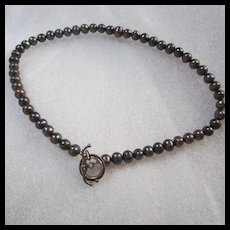 Peacock Gray Genuine Pearls Sterling Silver Toggle Clasp Necklace