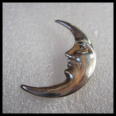 Sterling Silver Man in Moon Crescent Brooch Pin