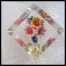 Gorgeous Reverse Carved Flower Lucite Shadowbox Brooch