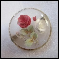 Reverse Carved Domed Lucite Lacey Round Brooch
