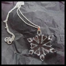 Crystal Snowflake Silver Chain Pendant Necklace