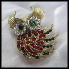 Stunning Vintage Owl Red Green Rhinestones Articulated Brooch