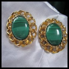 Stunning Malachite Gold Plate Statement Clip Earrings