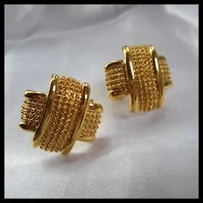 Stunning X Gold Plate Clip Earrings