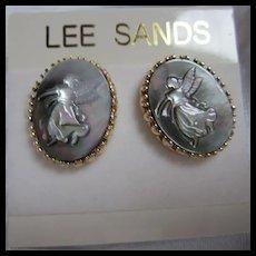 Lee Sands Mother of Pearl Angel Post Earrings NOS