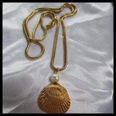 Real Seashell Gold Plated fx Pearl Long Snake Chain Pendant Necklace