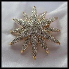 Swarovski Signed Sparkling Pave Starburst Brooch Earrings Set