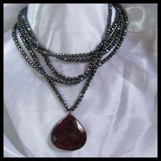 Gorgeous 5 Strand Hematite Huge Ruby Pendant Necklace