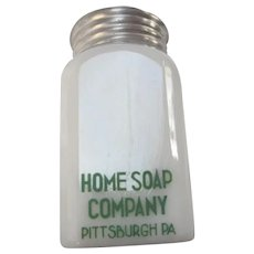 Rare Advertising Home Soap Company Milk Glass Sugar Shaker Pittsburgh Pa.