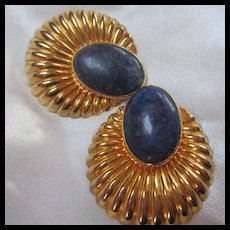Rare Tulla Booth Signed Lapis Vermeil Shell Clip Earrings