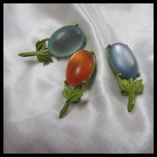 Set of 3 Flower Enamel Frosted Cabochon Brooches