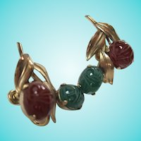 Egyptian Revival Scarab Gold Filled Screw Back Earrings