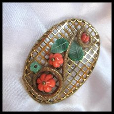 Most Unusual Gorgeous Orange Melon Glass Wired Brooch