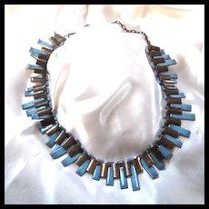 Matisse Renoir Blue Enamel Copper Cleopatra Necklace