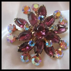 Gorgeous Royal Purple AB Swedge Sparkling Brooch