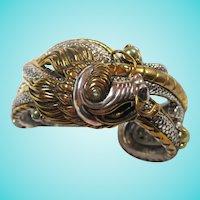 Amazing Dragon Cuff Sterling Silver Bronze Pearl Peridot Bracelet