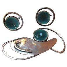 John Bryan Mid Century Modernist Sterling Enamel Brooch Earrings Set