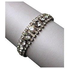 Classy vintage Art Deco style clear rhinestone 3 strand bracelet